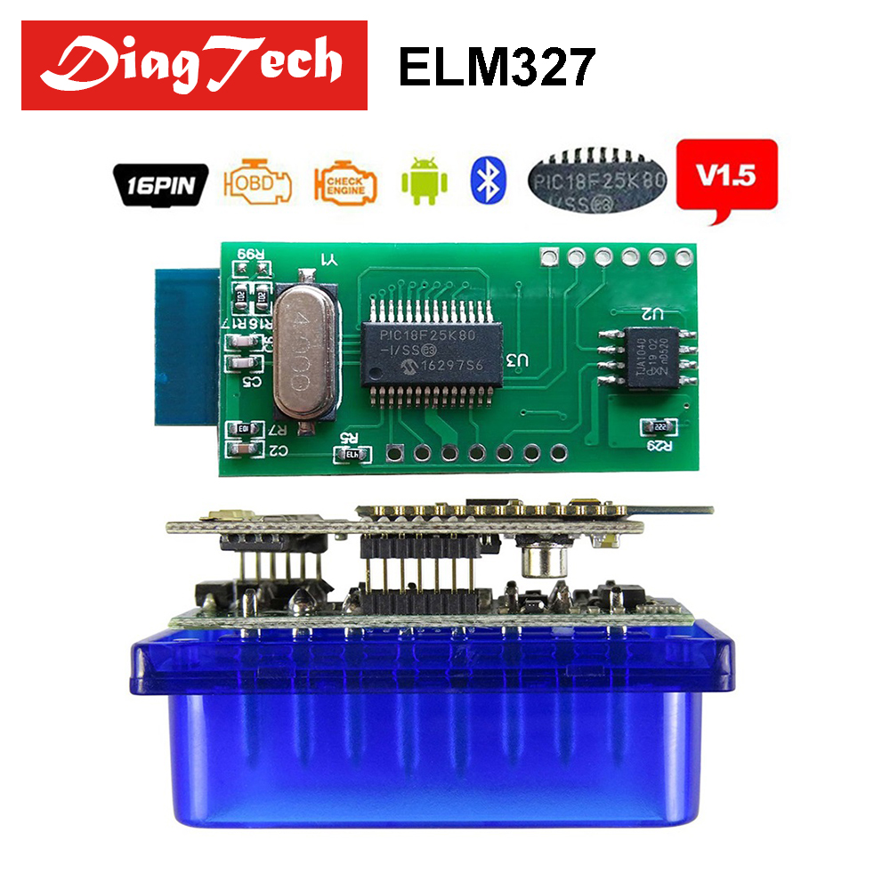 Professional ELM327 V1.5 Real PIC18F25K80 Mini ELM 327 1.5 Bluetooth OBD2 / OBDII for Android Torque Car Code Scanner