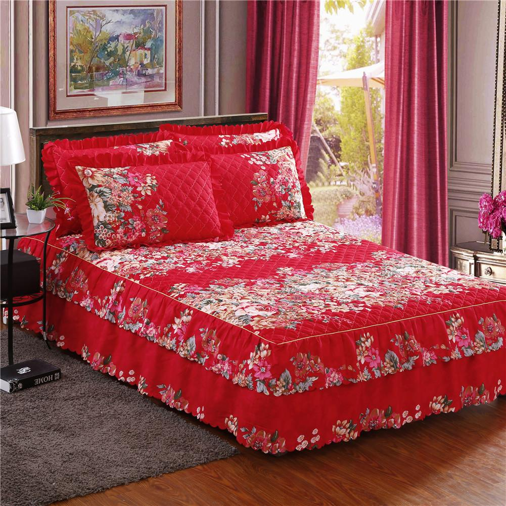 Winter Thickened Floral Print Bed Skirt Queen Size