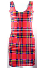 Women summer dress X-195 Tartan Red print women clothing fashion novelty dresses punk plus size dress