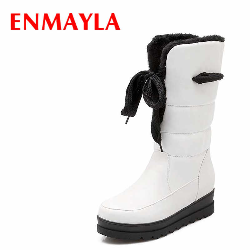 ENMAYLA Warm Winter Snow Boots Shoes New Round Toe Mid-Calf PU Wedges Med platform girl Boots Big Size34-43 Black, white, red