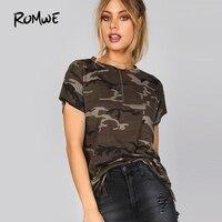 ROMWE Slashed Camouflage Pocket Tee Shirt Round Neck Short Sleeve T Shirt 2018 New Arrival Ladies
