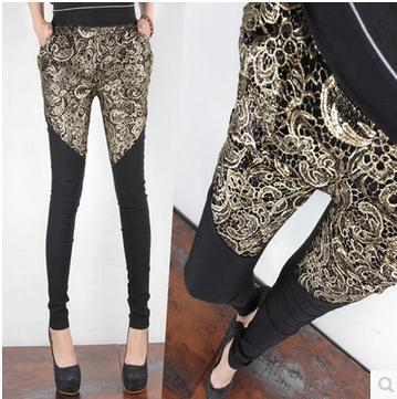 autumn winter openwork lace patchwork skinny pants harem pants plus velvet warm pants harem pants Embroidery b923