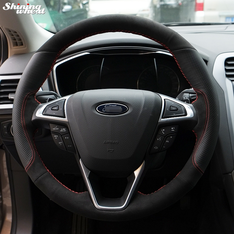 Shining wheat Hand-stitched Black Suede Black Leather Steering Wheel Cover for Ford Fusion Mondeo 2013 2014
