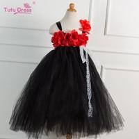 Baby Girl Party Tutu Dress Black With Red Rose Girl Flower Dress Birthday Wedding Tutu Dress