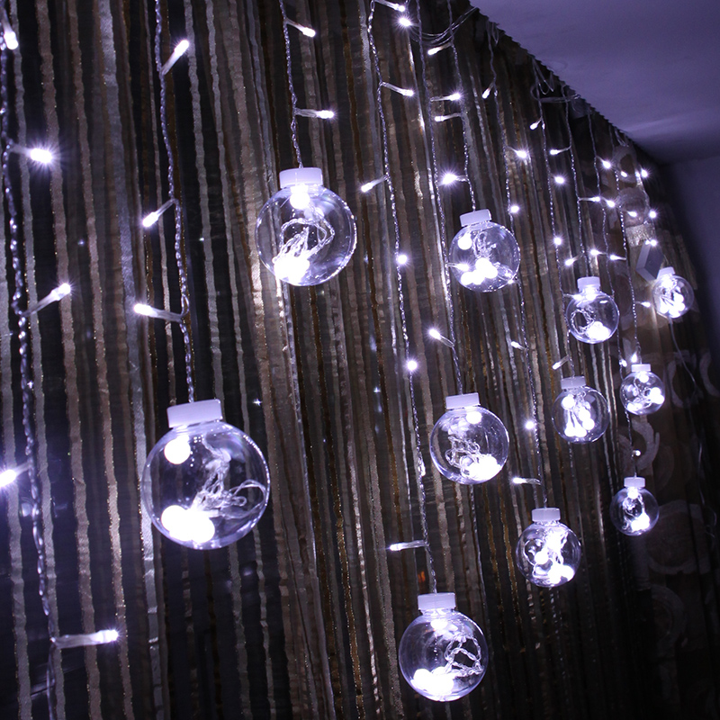 LED Ball Curtain String Lights 3*0.6m Garland Fairy Wedding decoration Home Christmas New Year Chandeliers Holiday Lighting Lamp