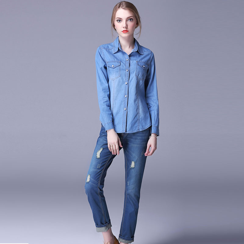 ebbda713ac3 Autumn Shirts Women New Denim Shirt Blouse Female Turn Down Collar All  Matches Long Sleeve Blouses Shirt Women Plus Size Tops-in Blouses   Shirts  from ...