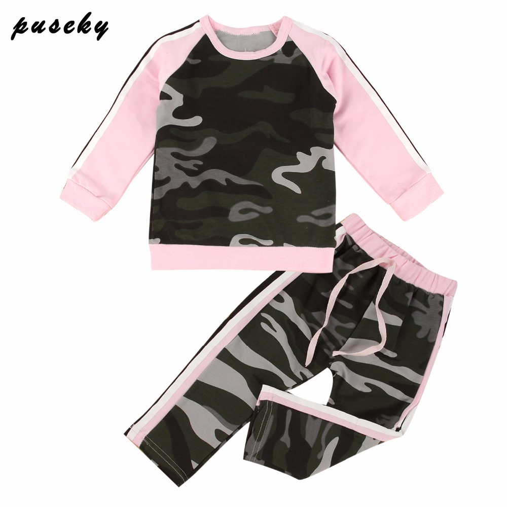 Toddler Kids Baby Girl Clothes Fashion Camouflage T-shirt Tops Pants 2PCS Outfits Clothing Set Sport Suit Children Tracksuit baby clothes summer baby boy girl suit rabbit t shirt striped strap pants kids clothes toddler children s clothing
