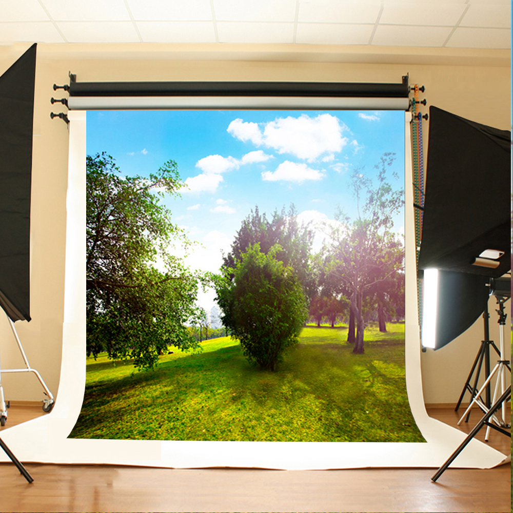 Wedding Photo Background Blue Sky White Clouds Photo Booth Backdrop Sunny Woody Meadow Wedding Background for Photography Studio send rolled sunny sky backdrop vintage white cloud blue sky printed fabric photography background f0150
