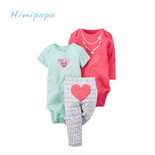 HIMIPOPO 3pcs Baby Girls Bodysuit Clothing Sets Newborn Cartoon Pants Cardigan Set Cotton Romper Baby Summer Clothes for Girl