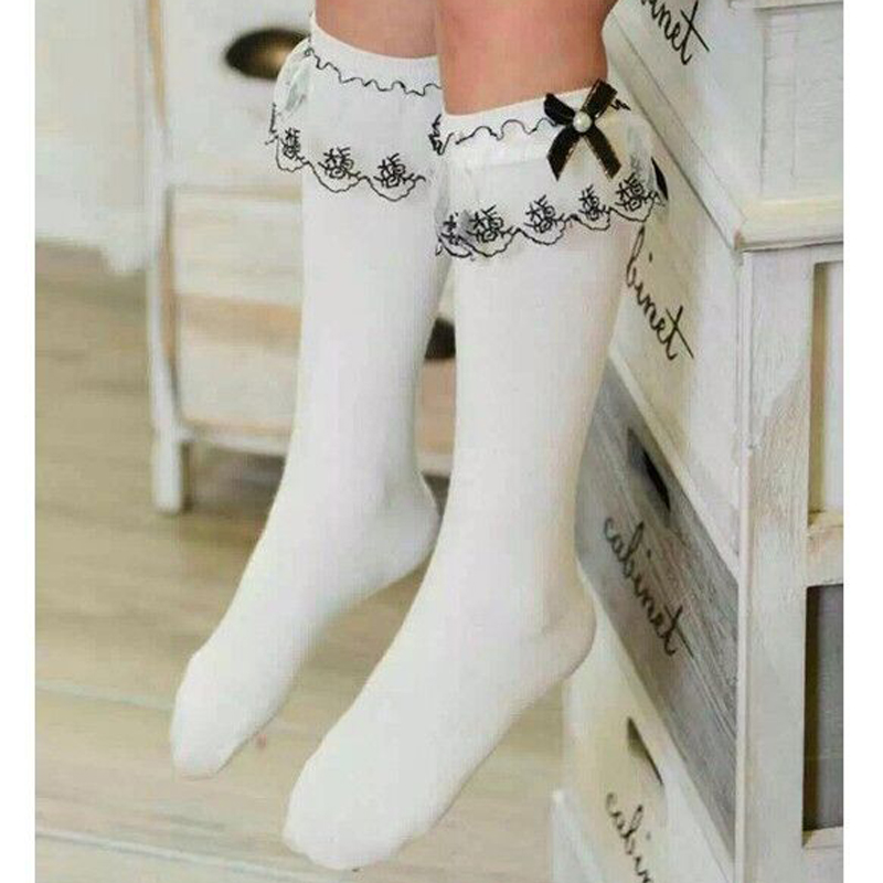 0e2d7833de68 Girls Kids Lace socks long For Children Cute Cotton Knee high school sock  with bow Girl Spring Autumn solid princess white black-in Socks from Mother    Kids ...