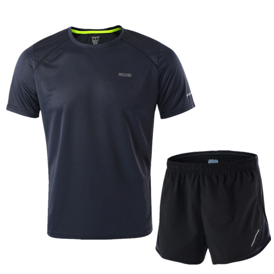 Image 2 - ARSUXEO Running Set Men Jogging Jersey Sports Suit Gym Clothing Sportswear Breathable Marathon Shorts and Running Shirts-in Running Sets from Sports & Entertainment on AliExpress