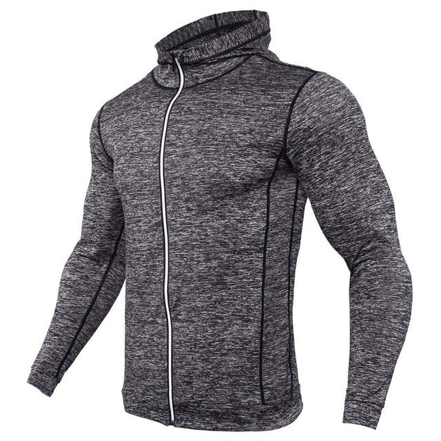 New Rashgard Hooded Sport Shirt Men Long Sleeve Zipper Running T Shirt Men Hoody Compression Shirt Gym Tshirt Fitness Top 3