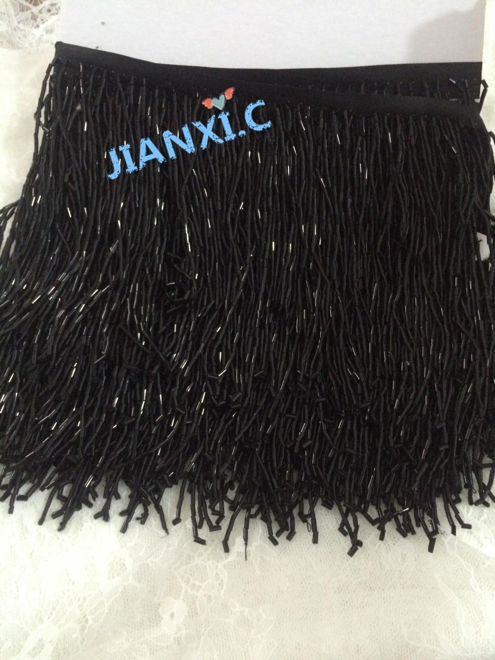 JIANXI C 72715 beaded Fringe Ribbon Trim Fringe Tassel Lace Trim 15cm length in black for