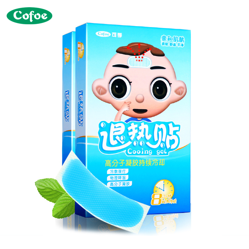 Cofoe 12pcs Sticks Baby Cooling Gel Patch Prevent  Fever Plaster Children Adult Physical Cooling Patch For Fever