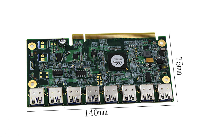 1 To 8 PCIe Miner Machine Graphics Card Extension Cord PCI-E 16X Turn 8 Port USB3.0 PCIE Expansion Cards Riser Card BTC LTC ETH-1