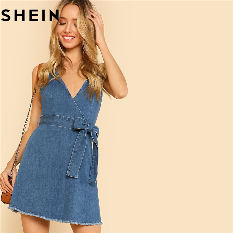 SHEIN Blue Sleeveless Spaghetti Strap V-Neck Belted Denim Mini Dresses Woman Summer Surplice Denim Tie Waist Dress With Raw Hem