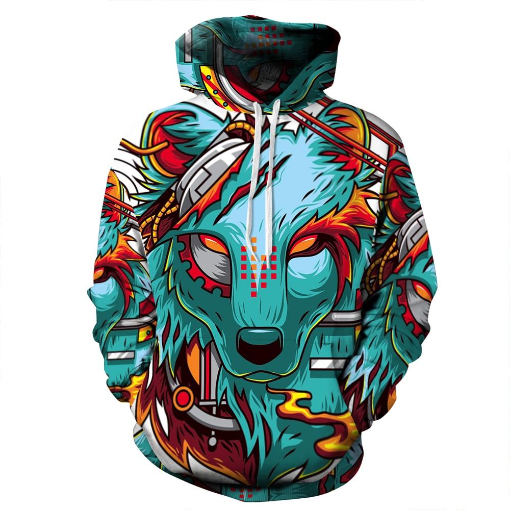 M 2018 New Fashion Sweatshirt Men / Women 3d Hoodies Print Wolf Slim Unisex Slim Stylish Hooded Hoodies
