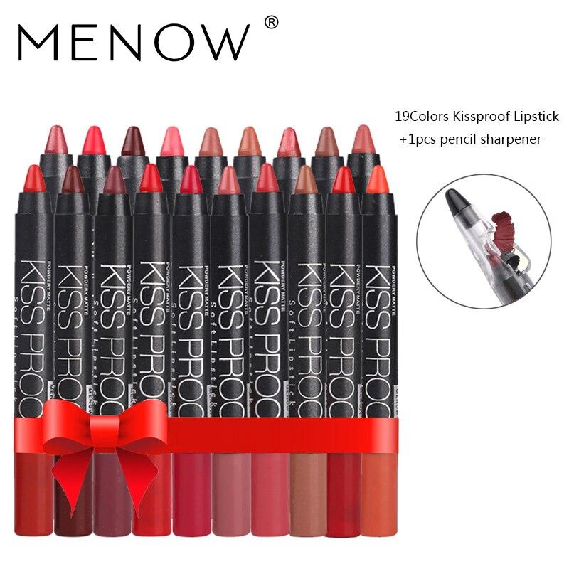 MENOW 19 Couleur/set BAISER PREUVE Sexy Beauté Imperméable À L'eau de Rouge À Lèvres Stylo Durable Ne Se Fanent Pas Rouge À Lèvres Cadeau 19 Pcs crayon Taille-Crayon 4187