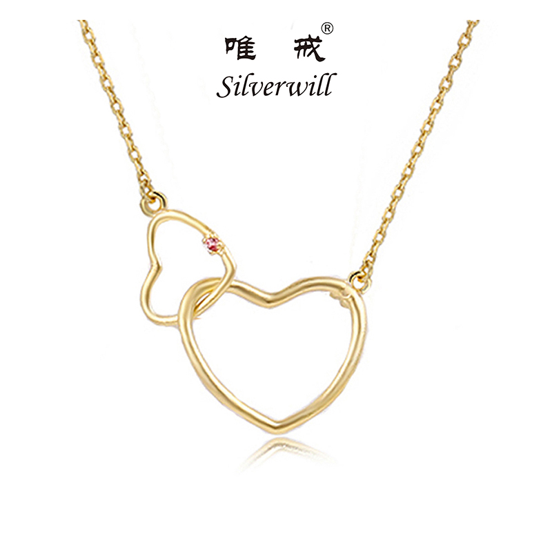 Silverwill 2018 sterling 925 silver brand new double heart statement necklace women fashion jewelry lovely sister birthday gift fashion diamante heart embellished sister bracelet for women
