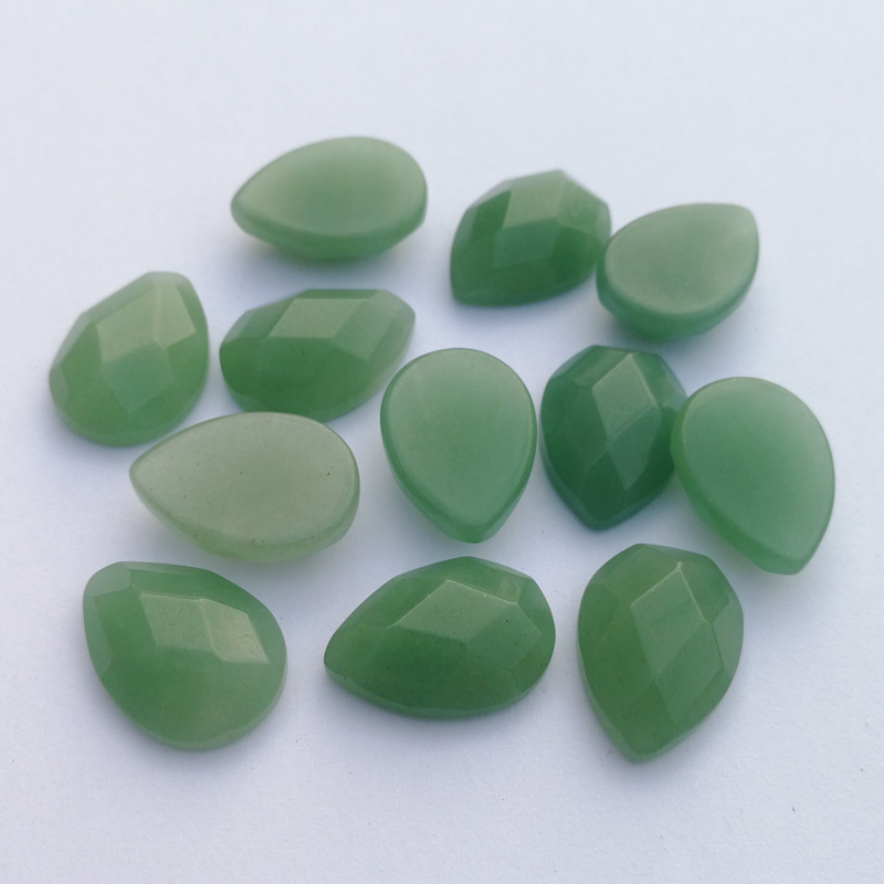 Wholesale fashion Hot sale natural Green Aventurine stone section bead for jewelry making 13X18MM 12Pcs/lot cab cabochon Ring