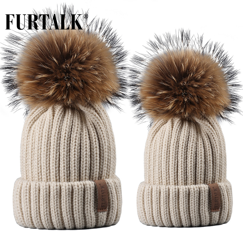 FURTALK Winter Hat Women Knitted Beanie Hat Real Raccoon Fur Pompom Hat For Female Kids Warm Chunky Thick Stretchy Hat