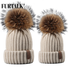все цены на Furtalk Real Fur Hat Knitted Real Big Raccoon Pom Pom Hat Women Winter Hat Unisex Kids Ages 4-12 Warm Chunky Thick Stretchy Knit онлайн
