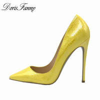 DorisFanny 12cm/10cm/8cm/6cm Yellow shoes Women Pumps high heels pointed toe womens office shoes for work