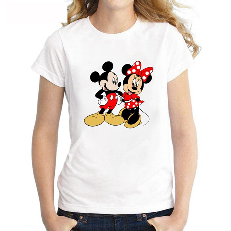 Lovely  Mouse Summer Couple Costume PatternWomen's T-shirt White Short-sleeved Shirt Casual Round Collar T-shirt