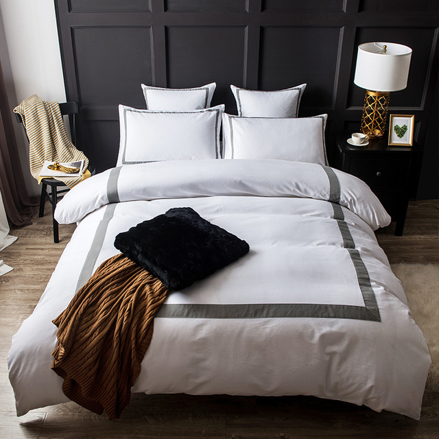 modern concise five star hotel style sanding cotton bedding set duvet cover bed linen bed sheet - Hotel Style Bedding