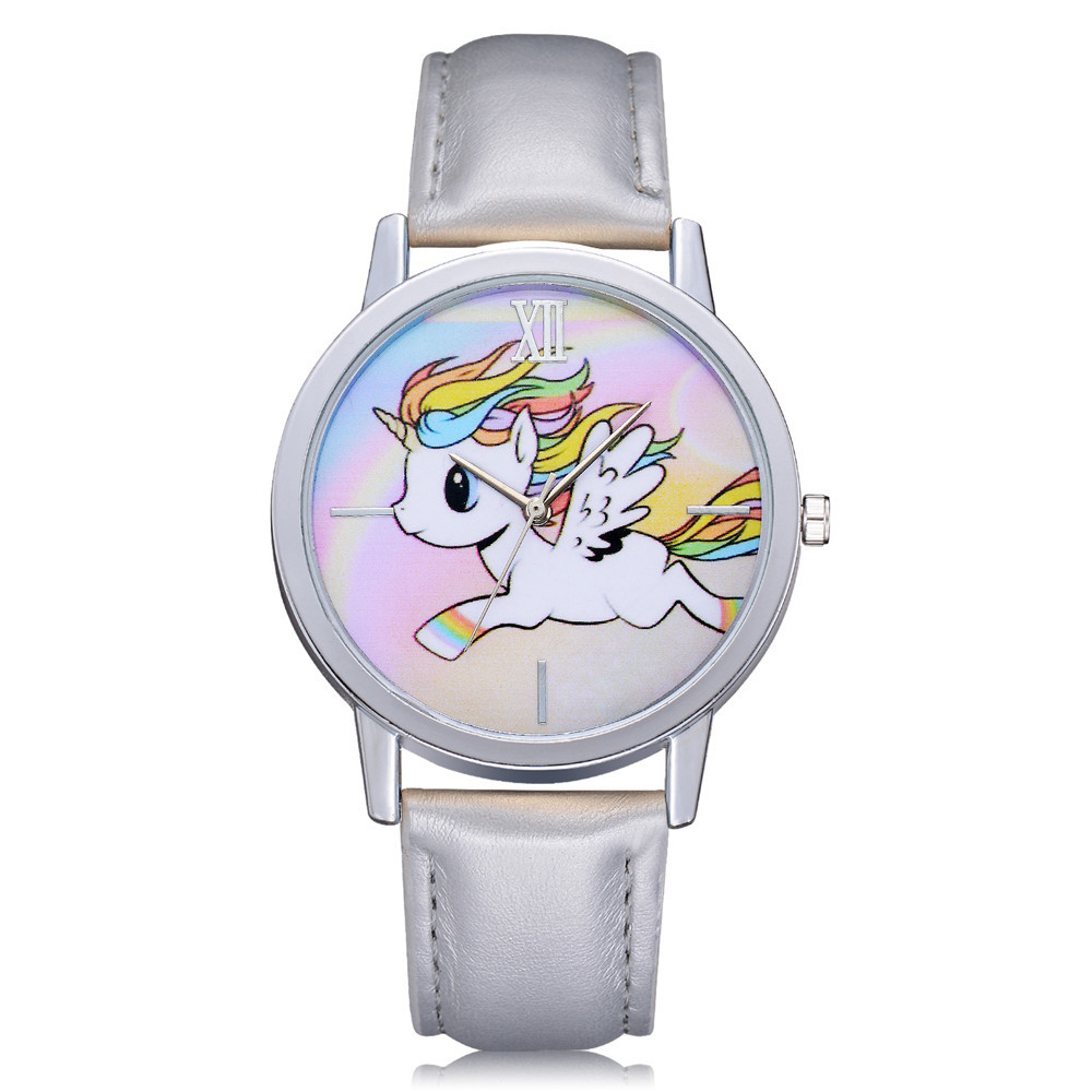 Women Girls Kids Cartoon Wrist Watch Ladies Girls Lovely Unicorn Animal Dial Clock Leather Band Analog Alloy Quartz WristWatches 2016 spider cartoon watch children kids wristwatch boys clock child gift leather wrist watch quartz cartoon watch quartz watch