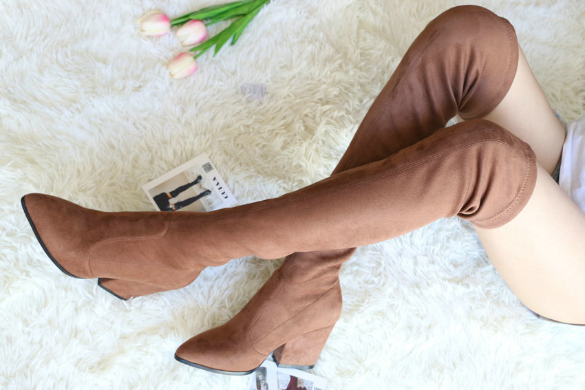Women Hoof Heels Winter Shoes Pointed Toe Sexy Elastic Fabric Boots 70