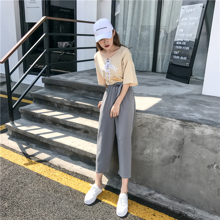19 Women Casual Loose Wide Leg Pant Womens Elegant Fashion Preppy Style Trousers Female Pure Color Females New Palazzo Pants 45