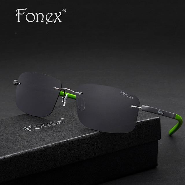 Fonex 2017 Male OK Good High Quality Rimless Sun Glasses Titanium Memory TR90 Men Superstar Brand Designer Polarized Sunglasses