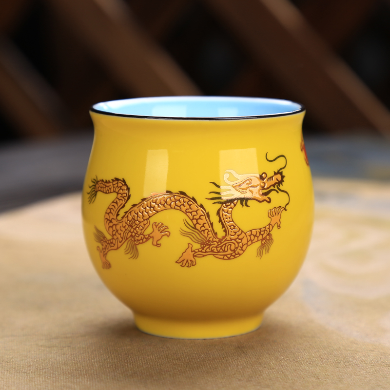 Чай комплект ретро кунг-фу чай чип чип чаша двойна изолация и анти-горещо домашно кафе чаши китайски дракон Напитки