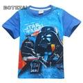 2017 verão novo menino dos desenhos animados manga curta-camisa de Star Wars star wars 4-12 year-old curto-camisa de mangas compridas meninos T-shirt do verão
