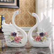 Flowers white ceramic Swan lovers home decor crafts room decoration objects wedding gift porcelain figurines