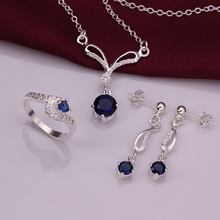 Women Child Kids Jewellery 925 Silver CZ Spherical Attraction Pendant Necklace Earrings Ring Jewellery Set Manufacturing unit Value Prime High quality