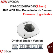 Hikvision original English 4MP Mini Dome WDR IP Camera DS-2CD2542FWD-IS CCTV Security Camera built in microphone IP67 POE