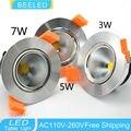 1 X Specular silver aluminum body 3W 5W 7W LED COB chip downlight Recessed LED Ceiling light Spot Light Lamp warm white LED Bulb