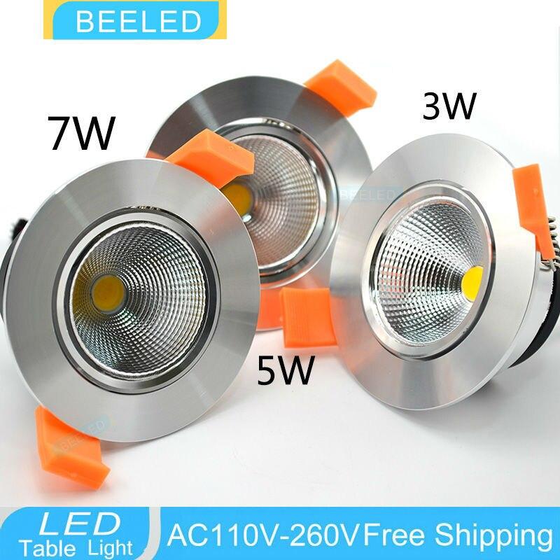 LED Downlights COB 3W 5W 7W Recessed LED downlight led bulb Spot Light Lamp warm white aluminum dimmable 220V 110V home decor sencart e14 3w white light cob led spot light 150lm 5900 6200k
