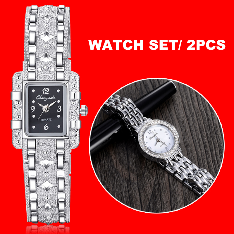 Ladies Women Watch Set Royal Fashion Square Dial Silver Stainless Steel Quartz Bracelet Rhinestone Double Watches Mujer Relojes
