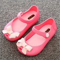 MINI SED Girls shoes 2016 Summer New Girls Sandals Pink Bow Cute PVC Baby Sandals Soft leather Children shoes girls Kids sandals