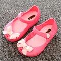 MINI SED Las Muchachas Del Verano 2016 Nuevas Sandalias de Las Muchachas Rosa Arco lindo PVC Sandalias Suaves Del Bebé zapatos de Los Niños niñas Niños sandalias de cuero