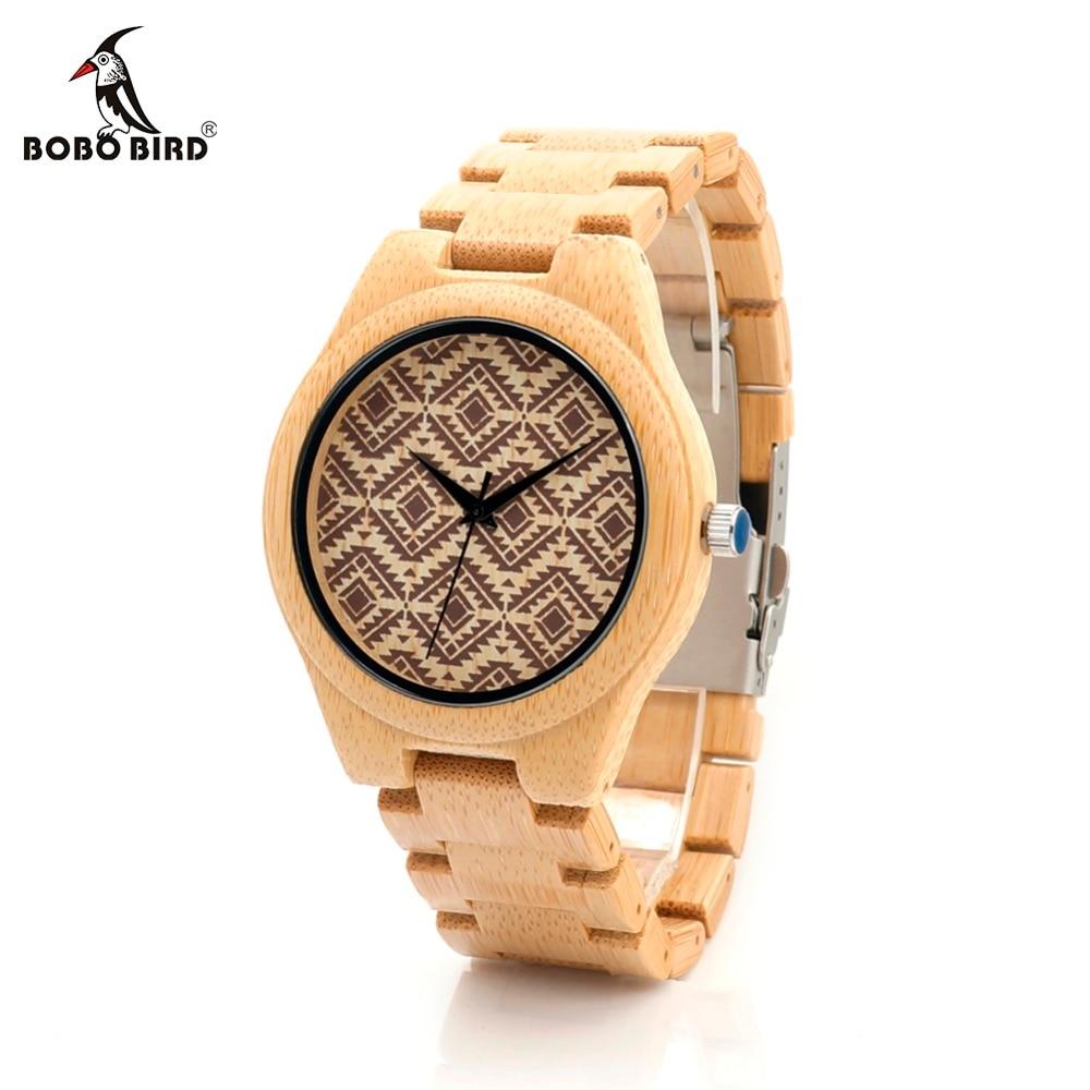 Japan Quartz BOBO BIRD L-I28 Men's Wooden Watch Bamboo Band Wavy Pattern Dial Face Clock for Men in Gift Box
