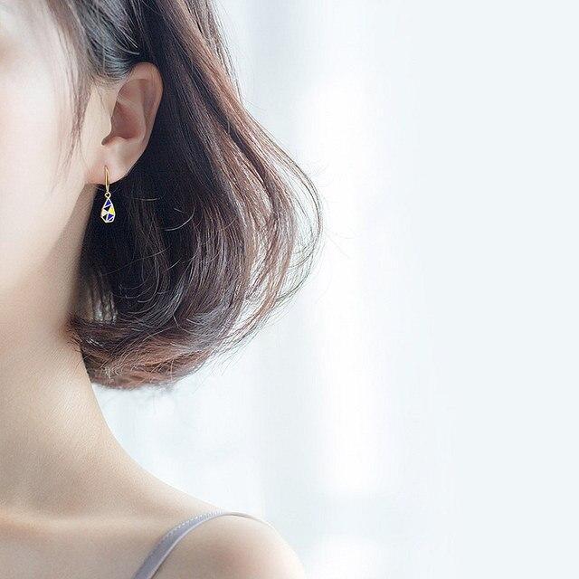 INZATT Exquisite Geometric Triangle Enamel Drop Earrings 2020 Trendy Water Drop 925 Sterling Silver For Women Fashion Jewelry