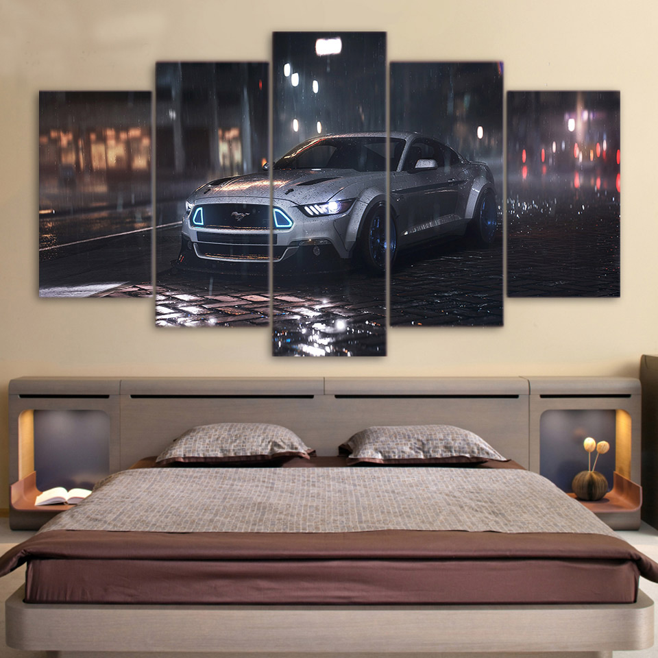 5 piece canvas art ford mustang car hd printed wall art for Automobile decorations home