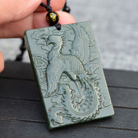 Natural Green HETIAN Nephrite Jades Pendant Carved Phoenix Dragon Pendants Necklace Gift for Men's Jades Stone Jewelry