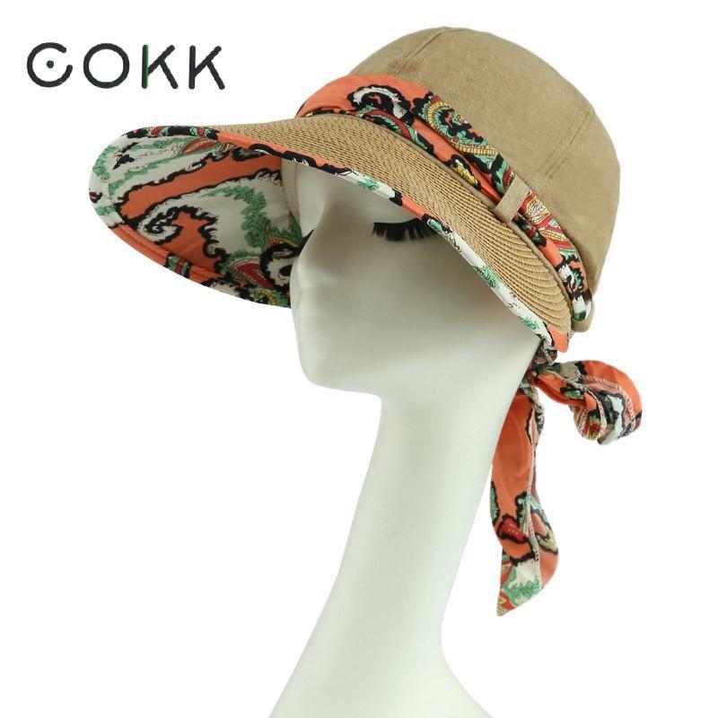 Cokk الصيف القبعات للنساء واسعة كبيرة حافة الشمس uv حماية الشاطئ قبعة مع القوس الكبير طوي المرأة قناع كاب chapeu feminino