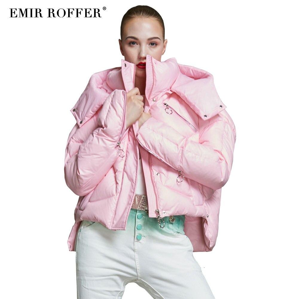 Capuche Vers Asymétrique Femmes Courte L'émir Bas Dames 2018 Femme Le D'hiver pink Black Mode Chaud Roffer Manteau Veste Épais Tendance Survêtement xvwnBIqCP