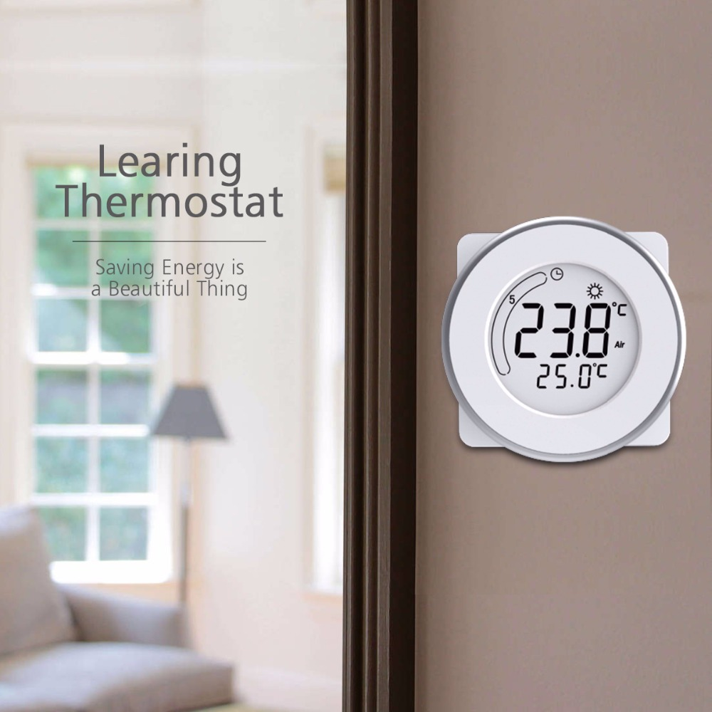 new weekly programmable floor heating thermostat lcd touch screen keypad locking room. Black Bedroom Furniture Sets. Home Design Ideas